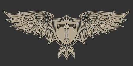 insignia: Alas con plumas y un escudo. Emblema heráldico.