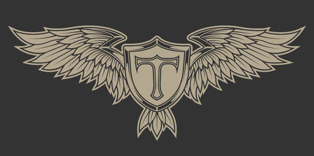 Wings with feathers and a shield. Heraldic emblem. Illustration