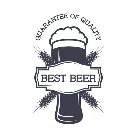 A glass of beer and a emblem for your text. Vector illustration.