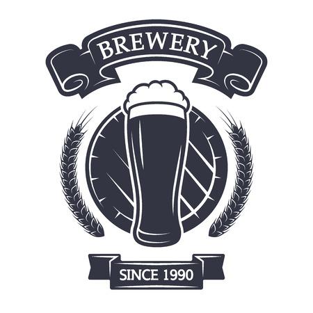 A glass of fresh beer on background barrel. Vintage emblem.