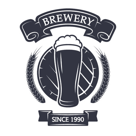 A glass of fresh beer on background barrel. Vintage emblem. Banco de Imagens - 45945719