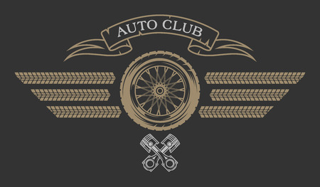 tyre: Auto Club emblem in vintage style. Vector illustration. Illustration