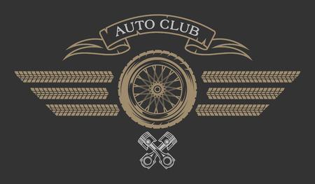 insignia: emblema del club auto en el estilo vintage. Ilustración del vector. Vectores