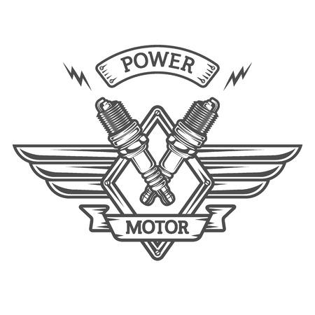 Auto emblem to the spark plugs. Retro style.
