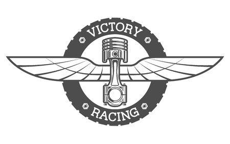 Auto emblem Piston and wings. Vector illustration.