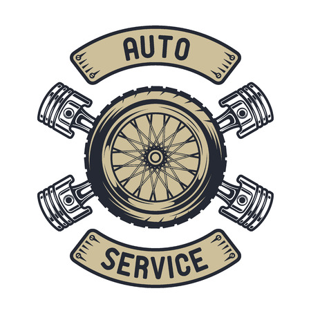 Auto emblem. Wheel of pistons and vintage style.