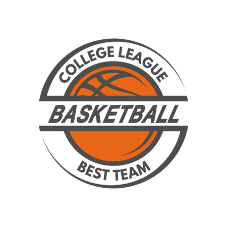 championship: Basketball template Logo badge emblem. Vector illustration.