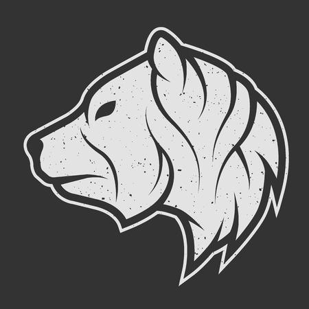 クマのシンボル、暗い背景のロゴ。ビンテージの線形スタイル。