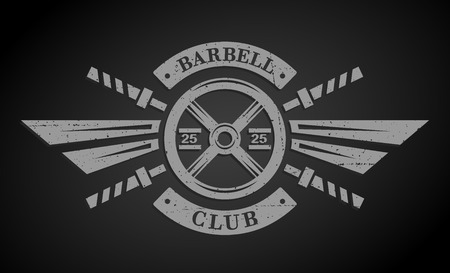 iron cross: Bodybuilding emblem. Disk weight and  barbell. The monochrome style on a dark background. Illustration