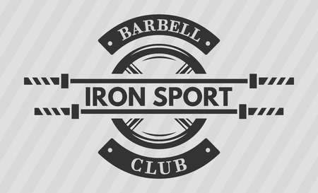 iron cross emblem: Iron sport. Disk weight and  barbell. The monochrome style. Illustration