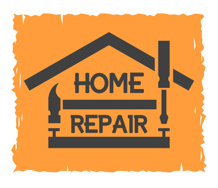 builder: Tools and symbol of the house. The emblem of home repair. Illustration