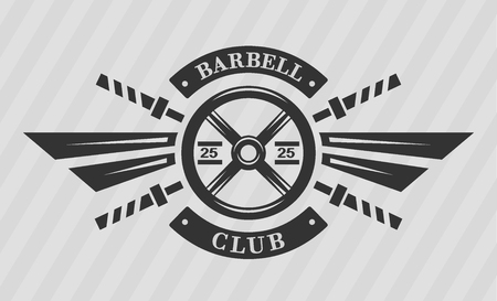 iron cross emblem: Bodybuilding emblem. Disk weight and  barbell. The monochrome style.