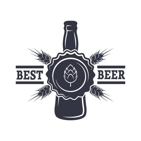 Bottle of Beer hops and malt. Vintage emblem.