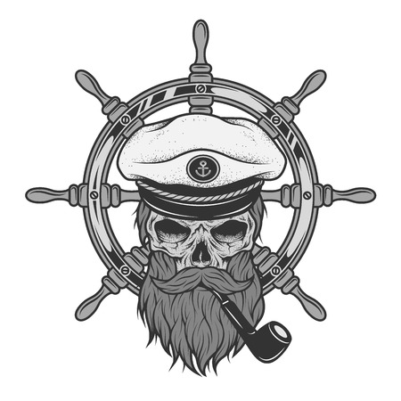 Captain Skull in a hat with a beard on a background of sea helm. Stock Illustratie