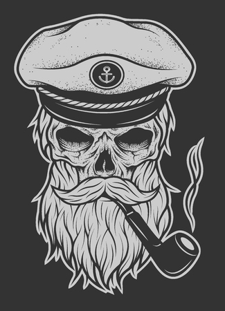 Captain Skull in a hat with a beard and a tobacco pipe. Vector illustration.
