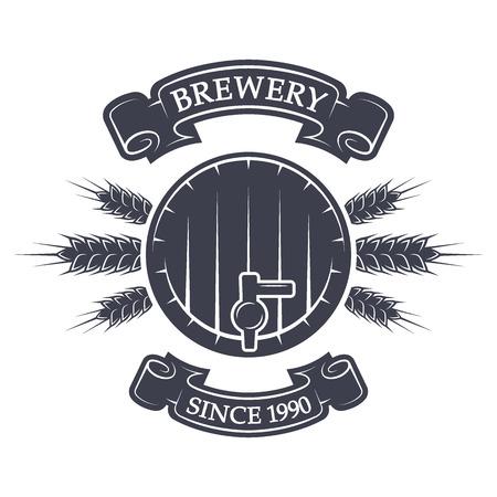 Craft brewing keg of beer. Vintage emblem. Vector illustration.