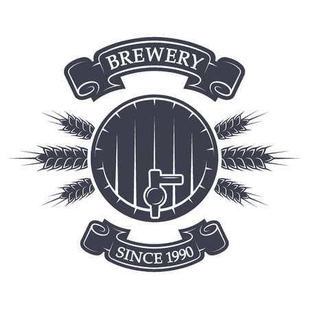 brewing: Craft brewing keg of beer. Vintage emblem. Vector illustration.