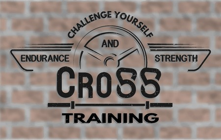 fitness center: Cross Training and Fitness.  The emblem in vintage style.