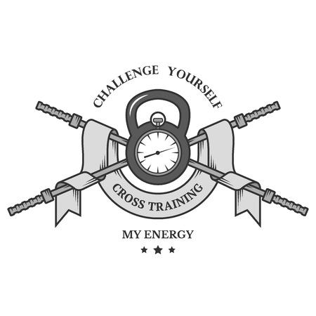 cross bar: Cross Training emblem Training on time. Vector illustration.