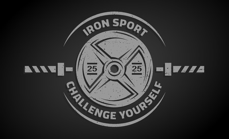 fitness center: Cross Training and Fitness. Disk weight and  barbell. The monochrome style on a dark background.
