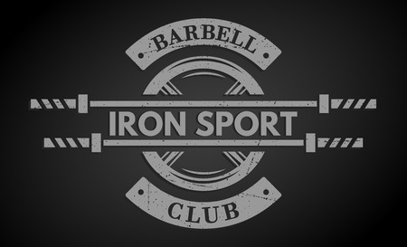iron cross emblem: Iron sport. Disk weight and  barbell. The monochrome style on a dark background. Illustration