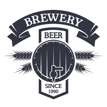 barley hop: Keg beer Brewing vintage emblem. Vector illustration.