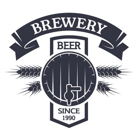 Keg beer Brewing vintage emblem. Vector illustration.