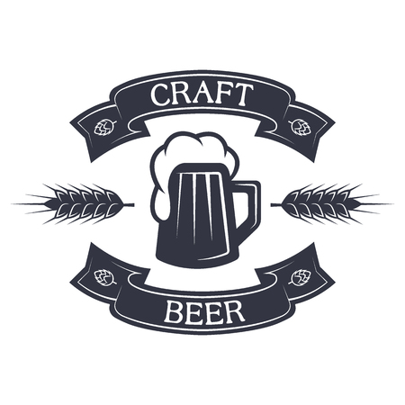 Mug of beer and ribbon for text vintage style. Vector illustration.