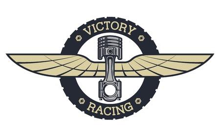 Emblème Auto. Piston et les ailes de style vintage. Vecteurs