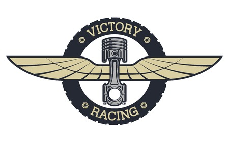 Auto emblem. Piston and wings vintage style.