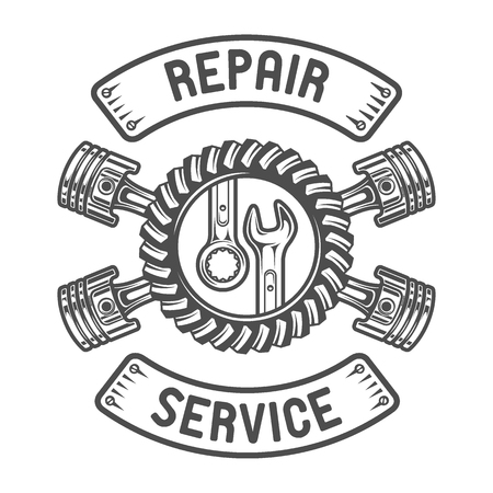 workshop: Repair Service Gears wrenches and pistons. Auto emblem. Illustration