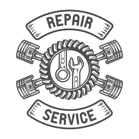 mecanico automotriz: Reparación de llaves y pistones Servicio Gears. Emblema auto.