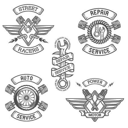 llantas: Conjunto de coches emblemas distintivos. Estilo vintage.