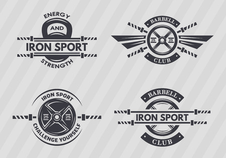 bodybuilding: Set of sports emblems on the topic of fitness, bodybuilding, cross training. Monochrome vintage style. Illustration