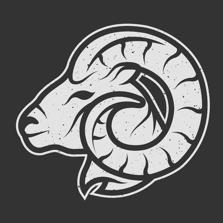 pecora: Sheep simbolo logo per lo sfondo scuro. stile lineare Vintage. Vettoriali