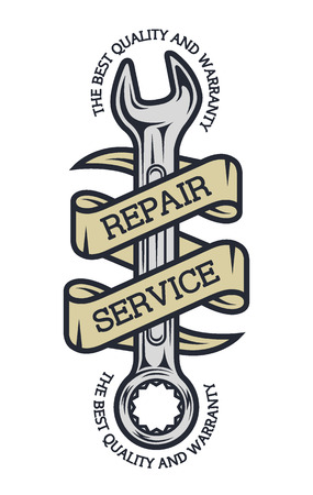 car engine: Repair Service. Spanners and ribbon for your text.