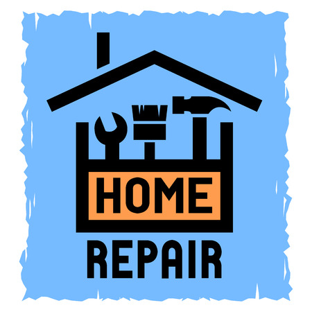 The box with the tools and symbol of the house. The emblem of home repair. Stock Illustratie