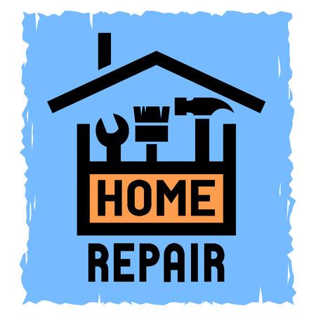logo batiment: La boîte avec les outils et symbole de la maison. L'emblème de la réparation à domicile. Illustration