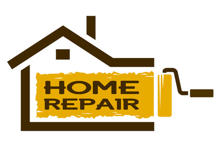 work home: The emblem of home repair services. Vector illustration.