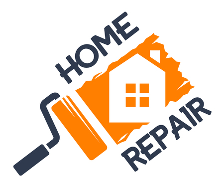 paint house: The emblem of home repair. Vector illustration.