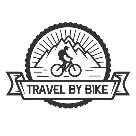 The emblem on the theme of travel and leisure cycling. Ilustração