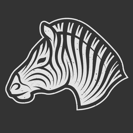 zebra heads: Zebra symbol, the logo for dark background. Vintage linear style.