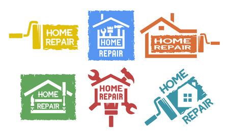 claw hammer: A set of emblem, labels on the topic of home repair. The monochrome style.