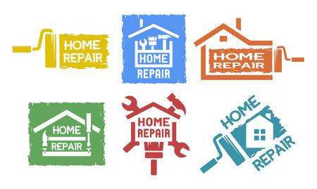 trabajando en casa: Un conjunto de emblema, etiquetas en el tema de reparaciones en el hogar. El estilo monocromático.