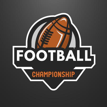 American football sports logo, label, emblem on a dark background.
