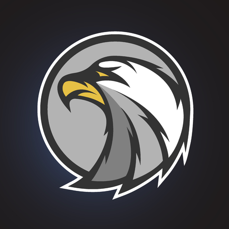 eagle badge: Eagle symbol, emblem or logo for a sports team.