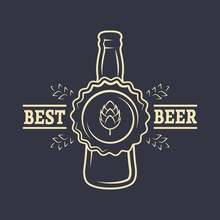 Tapar una botella de lúpulo de la cerveza y la malta. Emblema de la vendimia.