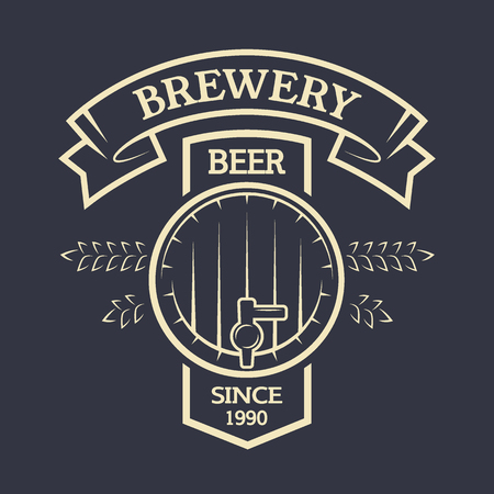 keg: Keg beer and ribbon for your text. Brewing vintage emblem.