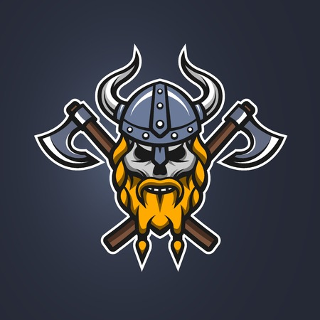 warriors: Skull viking warrior on a dark background. Illustration