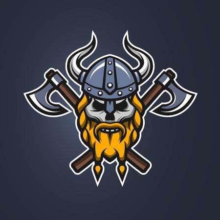 battle evil: Skull viking warrior on a dark background. Illustration